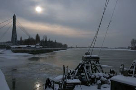 Річка Кубань під кригою